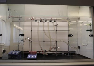 Fume hood equipped with Schlenk line