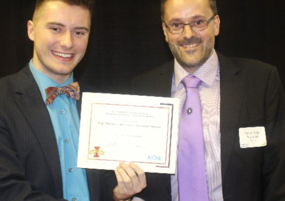 "Prof. Tessonnier wins ""You make this class bearable"" award from ISU's AIChE student chapter"